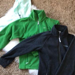 Lot of 3 youth  Columbia fleece zipups size 10/12